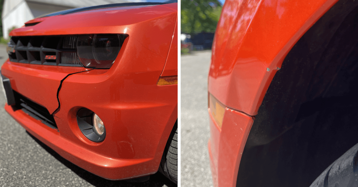 Orange Camaro damaged front bumper and fender