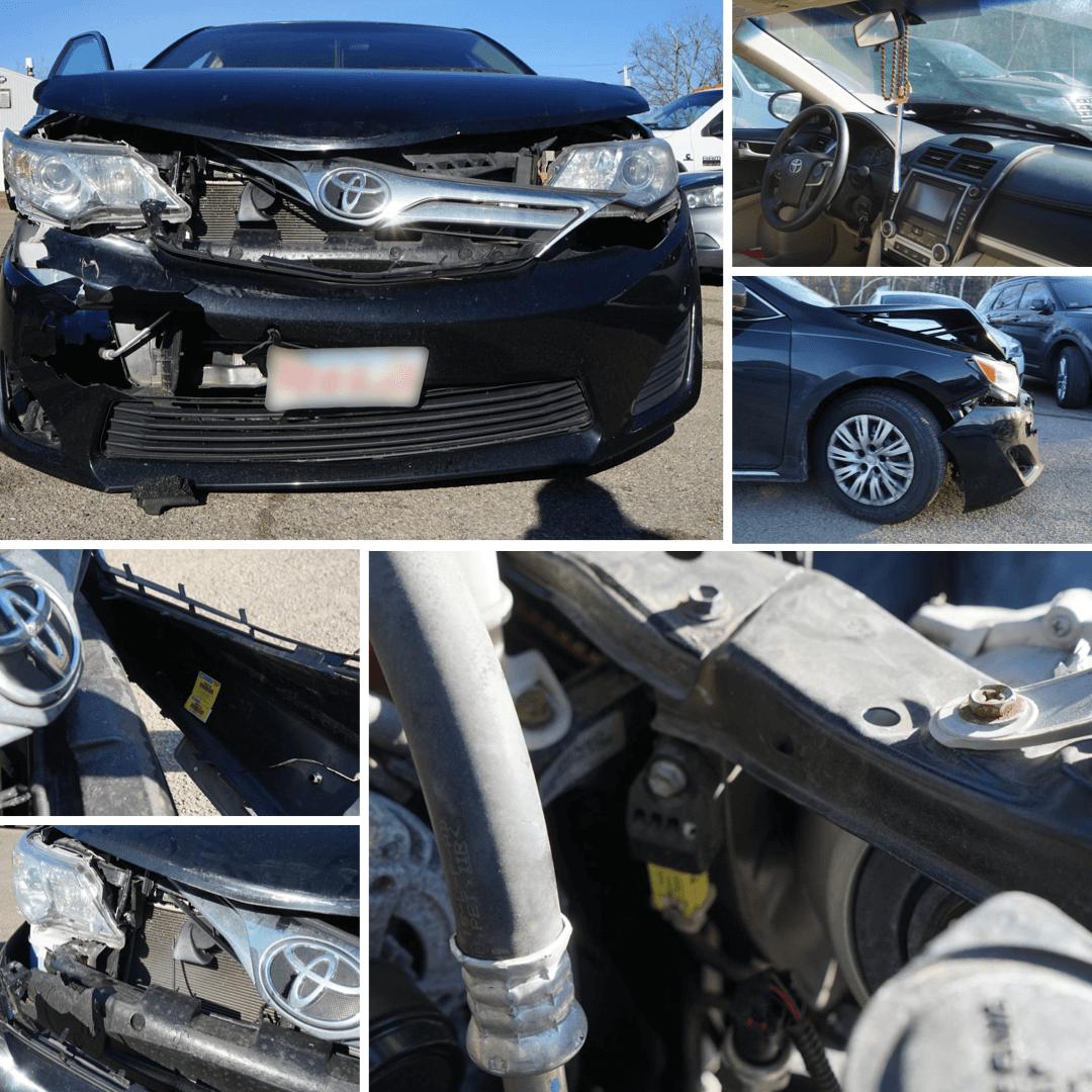 Black Toyota totaled collision damage